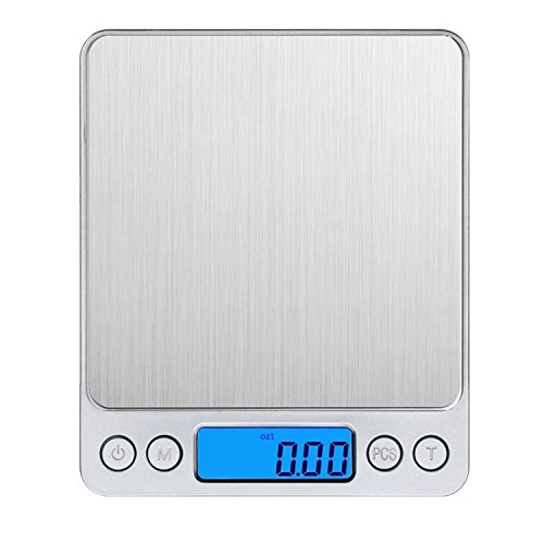 Amir 3000g/0.1g Digital Food Scale, Pocket Kitchen Scale, Electric Pro Mini Scale with Back-Lit LCD Display, Tare, Hold and PCS Features, Stainless Steel