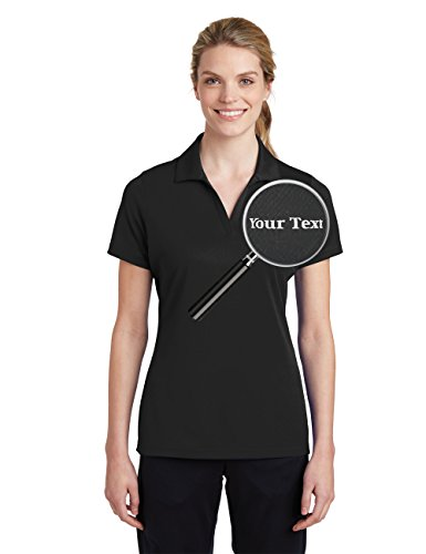 Custom Embroidered Shirts for Ladies - Your Text - Personalized Embroidery Polos Black