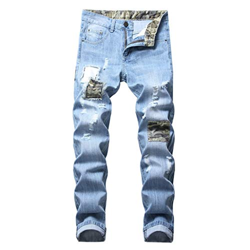 (Patcork Men's Design Teared Distressed 38 40 42 Denim Trousers Jeans Pants Fashion Casual Summer)