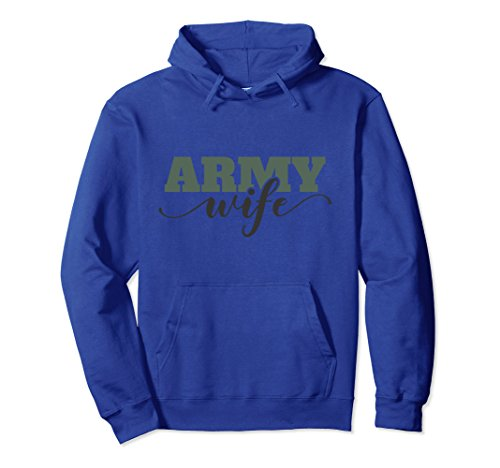 Unisex Proud Army Wife Hoodie Medium Royal Blue