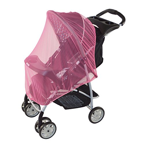 Pink Mosquito Net for baby Strollers, Carriers, Car Seats, Cradles, Pack'n'Plays, Cribs, Bassinets & Playpens. 44 x 48 Inch, High Density Baby Insect Netting (pink)