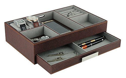 (Brown Leatherette Valet Tray Desk Dresser Drawer Coin Case Catch-all for Keys, Phone, Jewelry, Watches, and Accessories)