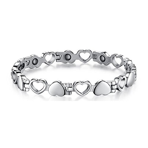 Titanium Steel Magnetic Therapy Bracelet Heart Hollow Hematite Balance Wristband for (Titanium Magnetic Bracelets)