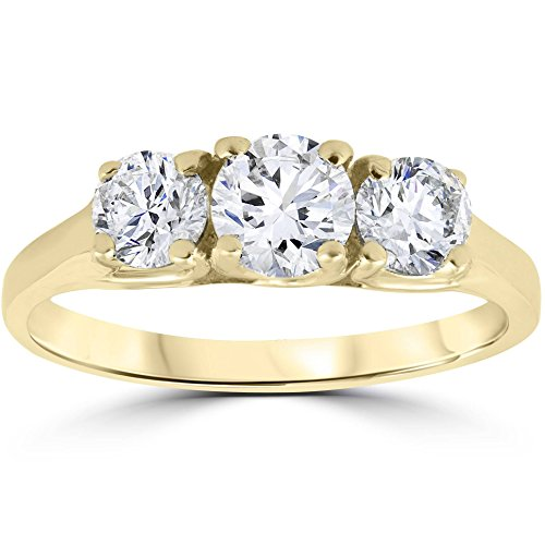 1ct Three Stone Diamond Engagement Womens Anniversary Ring 14k Yellow Gold - Size 7