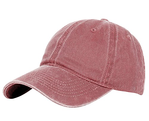 glamorstar-classic-unisex-baseball-cap-adjustable-washed-dyed-cotton-ball-hat-red-wine