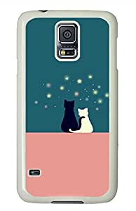 Loving Cats PC White Hard Case Cover Skin For Samsung Galaxy S5 I9600