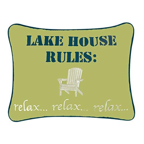 Embroidered Throw Pillow - Lake House Rules - 12