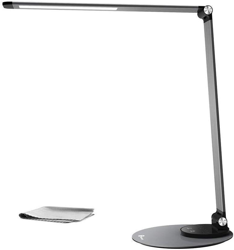 Lámpara de escritorio LED TaoTronics (ultra-delgada, aluminio aleado, protección a la vista, 6 Brillo 3 modos de color, función de memoria inteligente, puerto de carga USB, energéticamente eficiente)