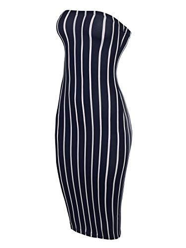 cb4e466a2669e6 BEYONDFAB Women's Super Sexy Comfortable Tube Top Body-Con Midi Dress Navy M