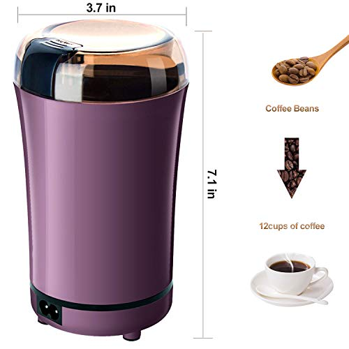 PARACITY Electric Coffee Grinder Grain Mill Portable Automatic Milling Machine with Replacement Stainless Steel Blade for Dry Herb Spice Peanut Grains Beans