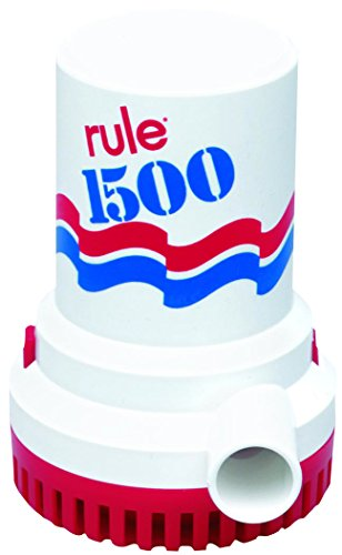 Rule 02-6 Marine Bilge Pump, 1500 GPH, Non-Automatic, 12 V with 6 Foot Wire Leads by Jabsco