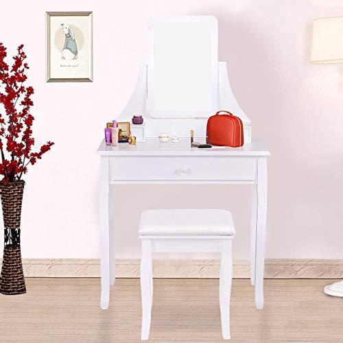 Giantex Bathroom Vanity Dressing Table Set 360 Rotate Mirror Pine Wood Legs Padded Stool Dressing Table Girls Make Up Vanity Set w/Stool (Rectangle Mirror 3 Drawers) (White)
