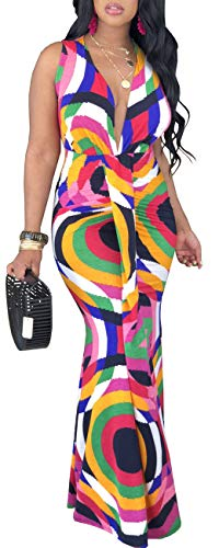 Women Sexy V Neck Dress Elegant Sleeveless Colorful Geometric Cocktail Bodycon Long Maxi Mermaid Party Outfits Stretchy