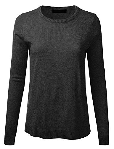 - Women's Crewneck Long Sleeve Soft Pullover Knit Sweater Top with Ribbed Trim HEATHERCHARCOAL S