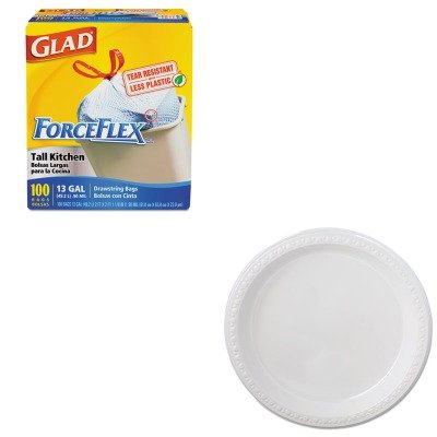 KITCOX70427HTM81209 - Value Kit - Chinet Heavyweight Plastic Dinnerware (HTM81209) and Glad ForceFlex Tall-Kitchen Drawstring Bags (COX70427)