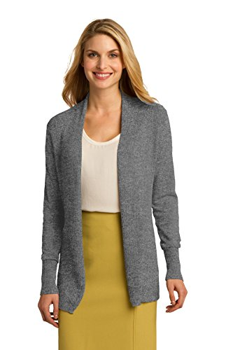 Port Authority Ladies Open Front Cardigan Sweater. LSW289 Medium Heather - Front Heather