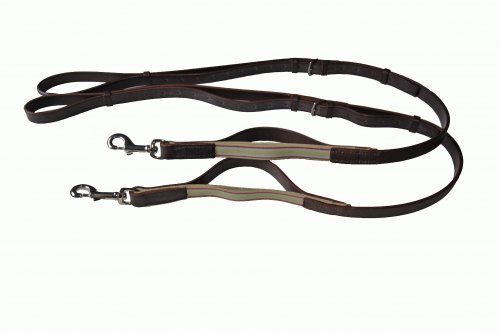 Elasticated High Quality English Leather Side Reins (grass reins) In Black