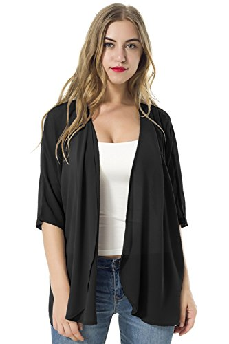 - TownCat Women's Chiffon Loose Casual 3/4 Sleeved Blouse Comfortable Breathable Thin Cardigan Sweater (XL, Black)