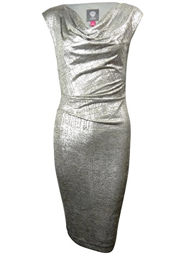 Sleeveless Cowl Neck Mettalic Dress, Silver, 12 (Vince Cowl Neck)