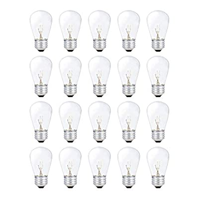 String Light Outdoor S14 Replacement Bulb 11W E26 Medium Screw Base by Simba Lighting for Decorating Patio, Café, Pergola, Porch, Clear Glass, 11 Watt 110V 120V, 2700K Warm White, Dimmable, 20 Pack