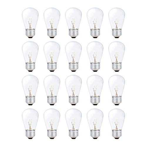 130 Base Volt Standard S14 - String Light Outdoor S14 Replacement Bulb 11W E26 Medium Screw Base by Simba Lighting for Decorating Patio, Café, Pergola, Porch, Clear Glass, 11 Watt 110V 120V, 2700K Warm White, Dimmable, 20 Pack