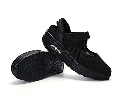 respirables mujeres verano de deportivos 40 deporte y Nuevas zapatillas Negro Primavera atléticos 35 ocasionales rojo de las Tamaño blanco Zapatos cómodos Negro SHINIK Zapatos BXxZq87X5