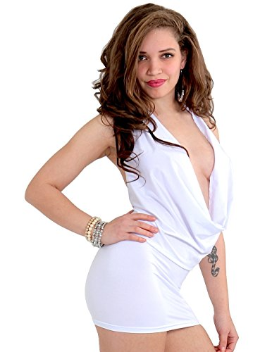 Envy BDOY Shop Sexy Club Dress Open Back Cowl Neck Mini Halter Party Dress/Top (M, White)