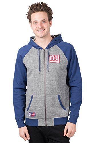 Ultra Game Men's NFL Full Zip Fleece Hoodie Letterman Varsity Jacket JZM2839F, New York Giants, Gray, Large