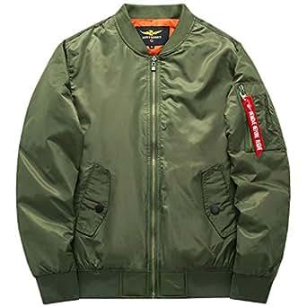 LANBAOSI Men's Heavy Flight Bomber Jacket Windbreaker Casual Baseball Coat X-Small Army Green