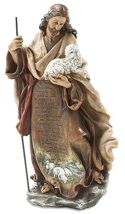 Woodington's Christ The Good Shepherd 12 Inch Engraved Prayer Statue