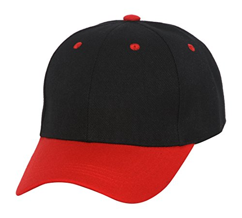 Two-Tone Low Profile Adjustable Baseball Cap, Black Red