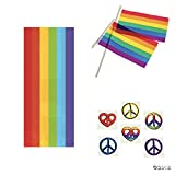 RAINBOW Pride PARTY Items - 25 Cello Bags w/Ties - 24 Plastic Flags (4'' x 6'') & 72 Rainbow PEACE Sign Tattoos - FAVORS Gay PRIDE Parades PARTIES Events LGBT - Give-aways