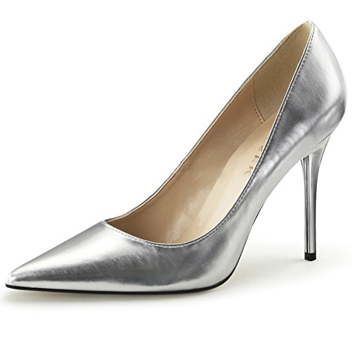 Womens Pointed Toe Shoes High Heel Pumps Classic Stilettos 4 Inch Heels Size: 11 Colors: Silver