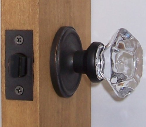 Perfect Reproduction Six Point Princess Old Town 24% Lead Crystal Interior Privacy Knob Sets with Oil Rubbed Bronze Over Solid Brass Retrofit Rosettes. Over Passage Set