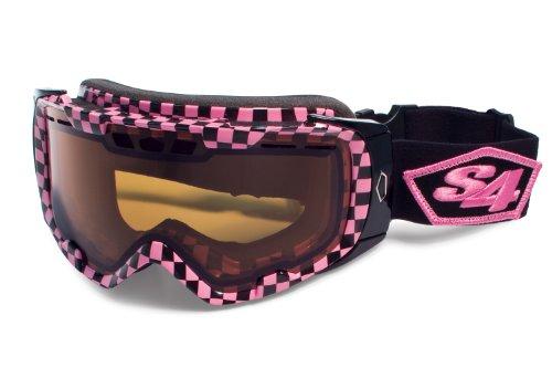 S4 Optics ALRT Snow Goggles, Pink/Black Checkerboard Print, Amber Photochromic - Optics Sunglasses S4