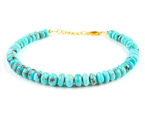 (14k Gold Plated Silver Natural Turquoise Gemstone Handmade Beaded Bar Bracelet Women Jewelry 25cts Luck Stone December Birthstone)