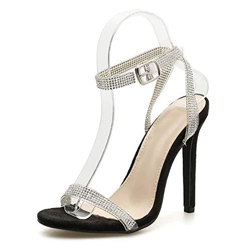 SSLOPY& Gladiator Sandals Women Wedding Sequins Sandals Party Sexy Silver Crystal Chain Shoes Thin Heels Sandalia Feminina Black 9