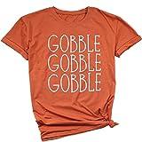 JINTING Women Thanksgiving Tee Shirts Short Sleeve Graphic Letter Print Funny Saying Tee Shirts Orange