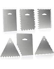 COM-FOUR® 6-delat degskrapset - kakspatel av aluminium - modelleringsverktyg för bakning och matlagning - spridningspalett med 23 mönster (6 delar - spatel)
