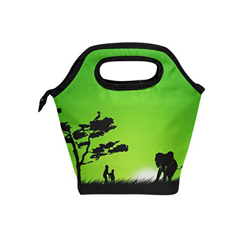 Lunch Tote Elephant Kids Green Tree Mens Insulated Lunch Bag Zipper Kids Lunch Box