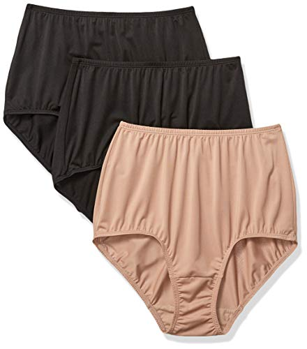 Olga Women's Without A Stitch 3 Pack Brief, Toasted Almond/Black, XXL