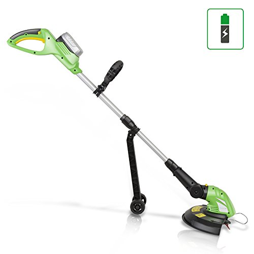 SereneLife Cordless Trimmer Weed Whacker - Electric Grass Edger String Trimmer with 18V Rechargeable Battery, Replaceable String Cutter Blades (PSLCGM25) (Black And Decker 17 Inch Electric Hedge Trimmer)