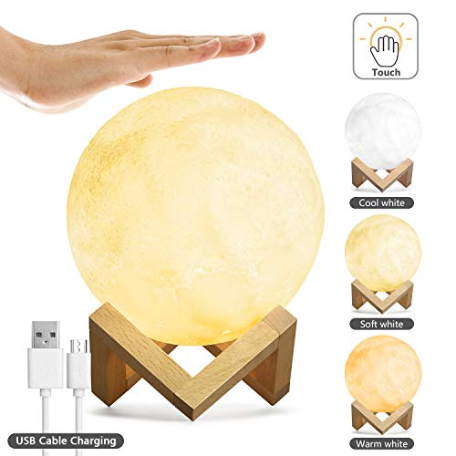 - Kohree Moon Lamp Moon Light Touch Control Brightness 5.9 Inch 3D Printing Glowing Lunar Lamp Night Light with Stand USB Rechargeable Dimmable 3 Colors for Kids Gift Choice