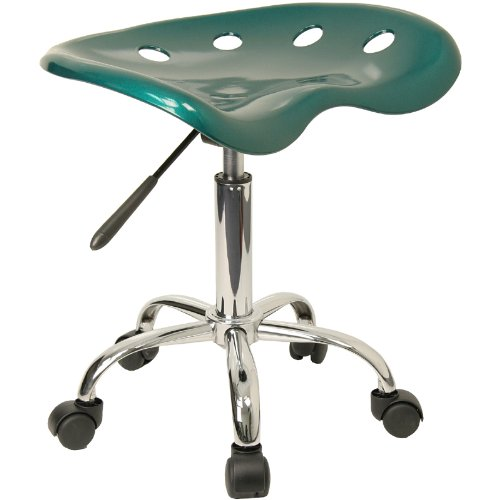 Flash Furniture Vibrant Green Tractor Seat and Chrome Stool Industrial Drafting Stool