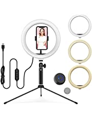 """10"""" LED Ring Light with Tripod Stand Adjustable & Phone Holder, Wireless Remote Shutter for Makeup/Live Stream/YouTube Video/Photography, Compatible with iOS/Android - WONEW ZJ02"""