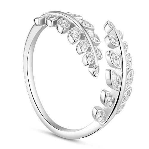 TINYSAND Women's 925 Sterling Silver Wrap Around Olive Leaf Branch Ring, Paved Cubic Zirconia Stone Adjustable Stackable Open Ring