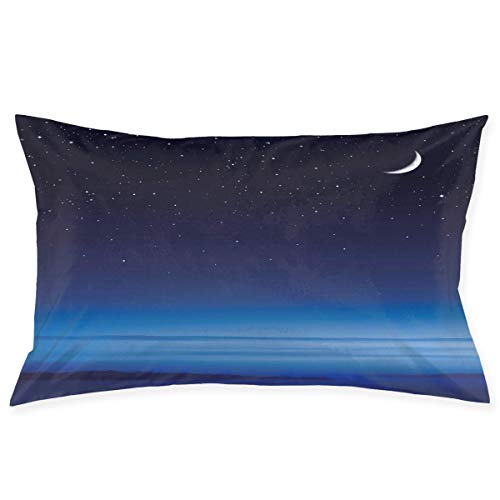 CardlyPhCardH Pillow Sham,Moon and Stars Over Santa Barbara Channel Infinity Foggy Pacific Ocean,Decorative Standard Queen Size Printed Pillowcase 30 X 20 Inches,Pillow Cushion Cover