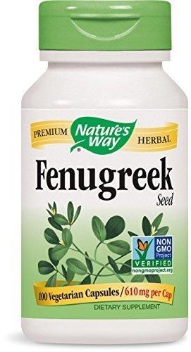 Nature's Way Fenugreek Seed, 610 milligrams, 100 Vegetarian capsules. Pack of 3 bottles