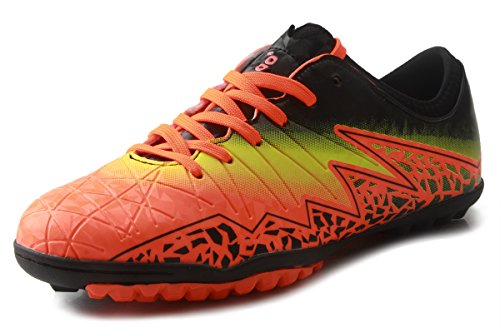 T&B Kids Trainers Football Boots Outdoor Sport Velcro Soccer Shoes Orange/Black 77030-Ju-35-3.5US (Soccer Shoes Trainers)