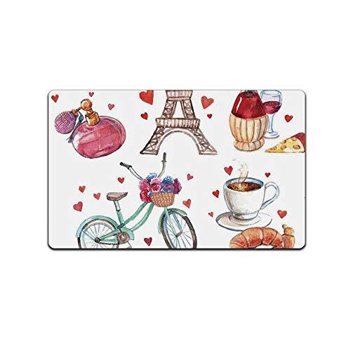 YOLIYANA Paris Decorative Doormat,Paris Illustration of Hearts Eiffel Tower Red Wine Coffee Perfume Romance Themed Art for Bathroom,29